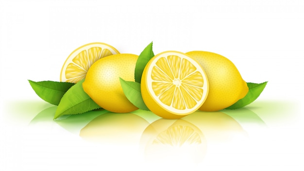 Limones aislados en blanco. frutas amarillas jugosas frescas cortadas por la mitad y enteras