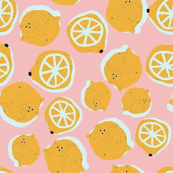 Limones dibujados a mano de patrones sin fisuras en vector