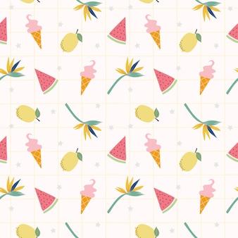 Limones frescos, sandía y lindo icream de patrones sin fisuras