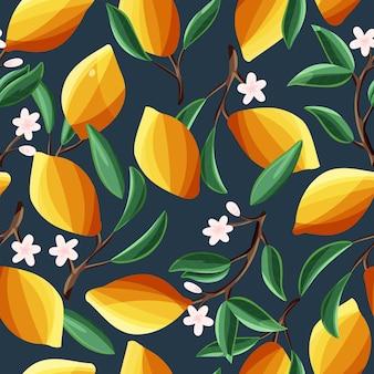 Limones en las ramas de los árboles, patrones sin fisuras. fruta tropical de verano, sobre fondo azul oscuro. ilustración de dibujado a mano colorido abstracto.
