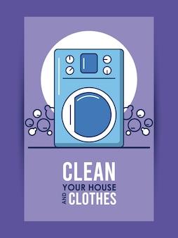 Limpia las letras de tu casa y ropa con un diseño de ilustración de equipo