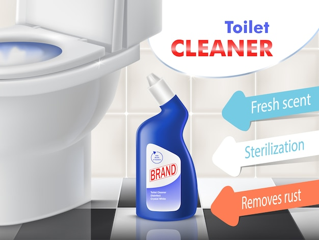 Limpiador de baño vector promoción banner con tazón de cerámica blanca en el baño. botella de plástico azul con