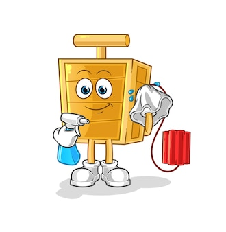 El limpiador detonador de dinamita. personaje animado