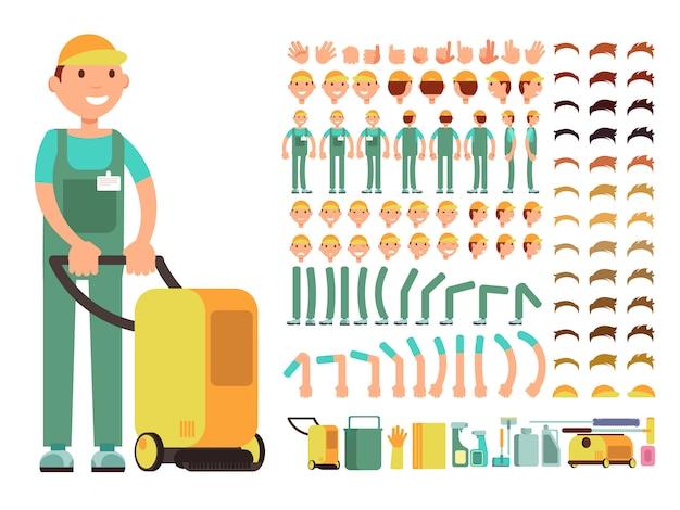 Limpiador de hombre profesional en servicio de limpieza uniforme.