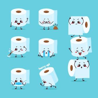 Limpiador de papel higiénico baño baño ilustración mascota de dibujos animados