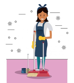 Limpiador con productos de limpieza. servicio de limpieza.