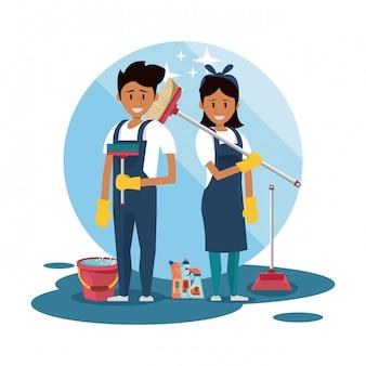 Limpiadores con productos de limpieza. servicio de limpieza.