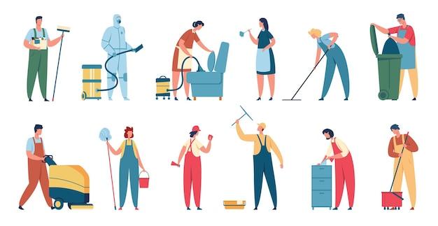 Limpiadores profesionales en uniforme con equipo de limpieza