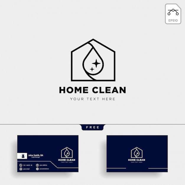 Limpie la casa o el hogar creativo logo plantilla vector ilustración