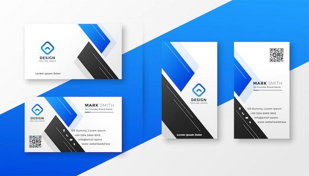 Limpie el diseño elegante de la tarjeta de visita azul