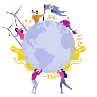 Limpie el ejemplo verde del vector de la energía del planeta.