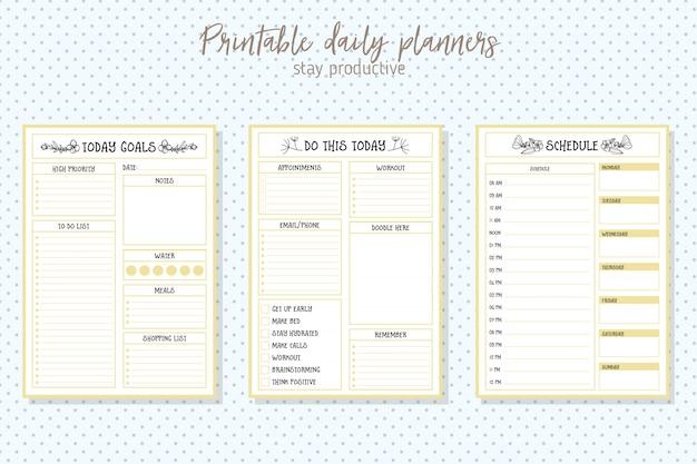 Limpie la plantilla diaria del vector del planificador del estilo. diseño de papeleria