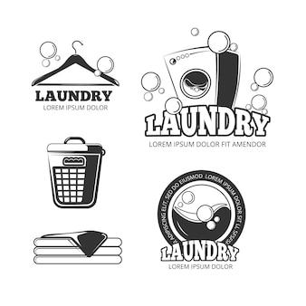 Limpie la ropa lavando etiquetas vintage vector, emblemas, logotipos, conjunto de insignias. lavadora y cubeta para