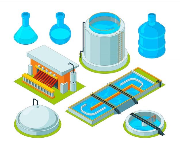 Limpieza de agua. tratamiento de riego separación de residuos transporte químico industrial purificación de agua imágenes isométricas