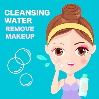 Limpieza cosmética en la cara.