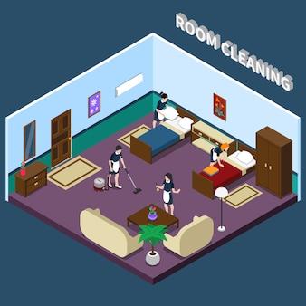 Limpieza del diseño isométrico de la habitación.