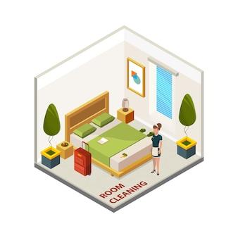 Limpieza de habitaciones de hotel. servicio de limpieza isométrica, mucama en habitación de hotel