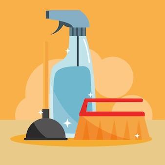 Limpieza de herramientas de baño