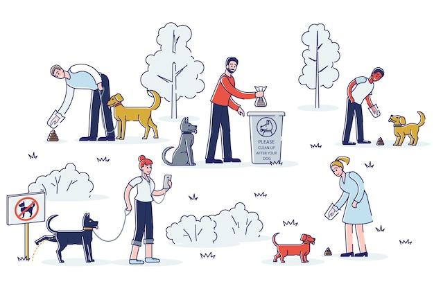 Limpieza tras perro. conjunto de dueños de mascotas recogiendo desechos de mascotas durante la caminata en el parque público