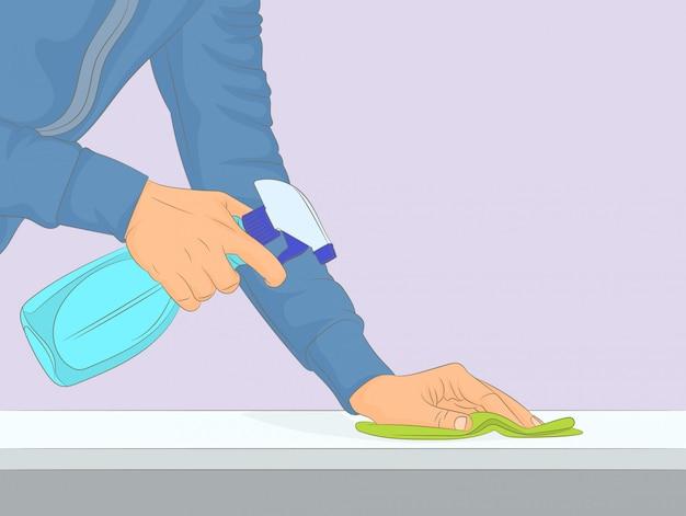 Limpieza y pulido con detergente en spray.
