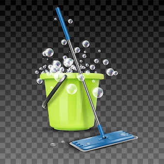 La limpieza saluda el cubo con espuma y las burbujas con la escoba. aislado en transparente