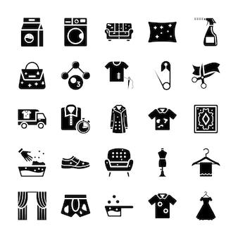 Limpieza en seco lavandería iconos sólidos