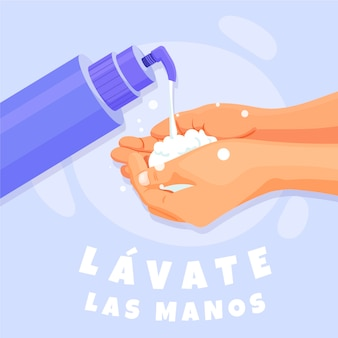 Sé limpio y lávate las manos con agua y jabón.