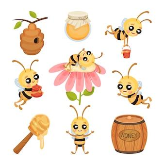Linda abeja conjunto de caracteres de dibujos animados de insectos.