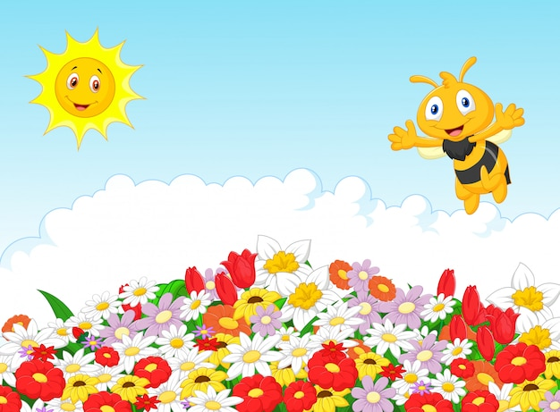 Linda abeja con fondo natural de verano