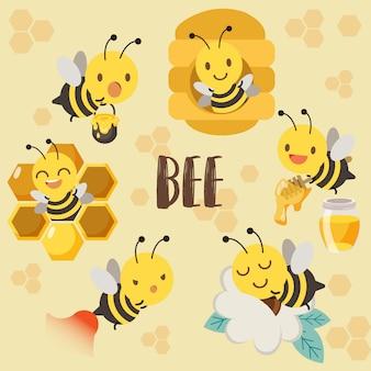 Linda abeja de personaje, colmena de abeja, miel de abeja, abeja durmiendo en flor