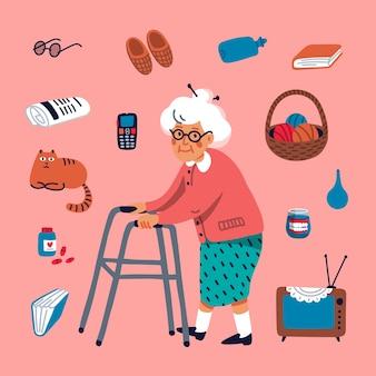 Linda abuela caminando con un andador y algunos artículos de edad avanzada sobre un fondo rosa.
