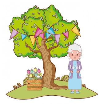 Linda abuela de dibujos animados