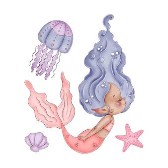 Linda acuarela sirenita africana con cabello violeta y cola rosa sobre un fondo blanco