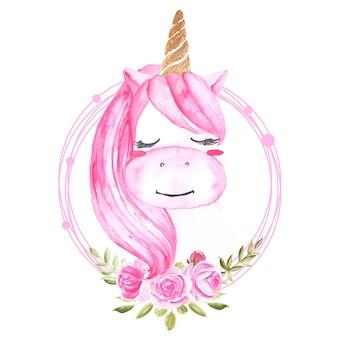 Linda acuarela unicornio con guirnalda floral rosa.