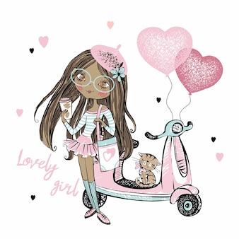 Una linda adolescente de piel oscura con una boina rosa se encuentra junto a su scooter con globos de corazón. día de san valentín.