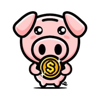 Linda alcancía abrazando monedas