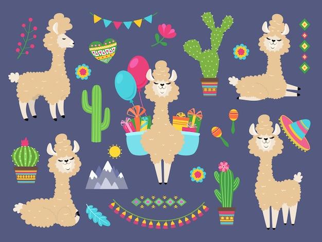 Linda alpaca llama de divertidos dibujos animados, perú lamas y flores de cactus. personajes de animales de alpacas salvajes