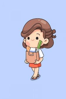 Linda ama de casa con bolsa de papel en lugar de plástico para ir de compras