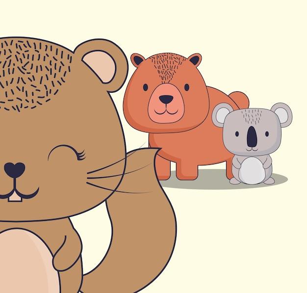 Linda ardilla con oso y koala