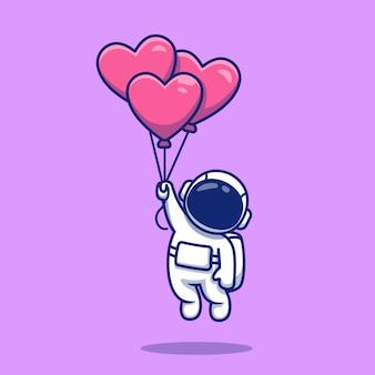 Linda astronauta flotando con globos de amor ilustración de dibujos animados.