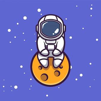 Linda astronauta en la ilustración de diseño de mascota espacial