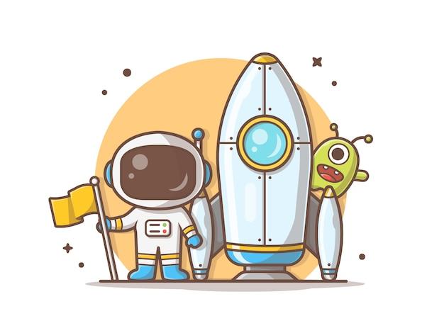 Linda astronauta de pie sosteniendo la bandera con cohete y linda ilustración alienígena