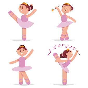Linda bailarina bailando conjunto de dibujos animados.