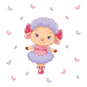 Linda bailarina de ovejita con mariposas