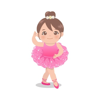 Linda bailarina rosa bailando con vestido de tutú con purpurina