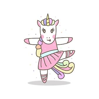 Linda bailarina de unicornio. girl sport illustration, listo para imprimir.