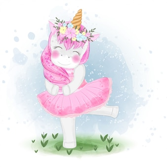 Linda bailarina de unicornio con ilustración de corona de flores