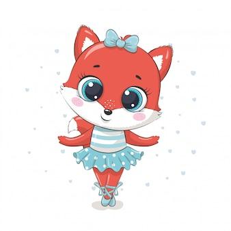 Linda bailarina de zorro bebé en una falda azul. ilustración para baby shower, tarjeta de felicitación, invitación de fiesta, impresión de camiseta de ropa de moda.