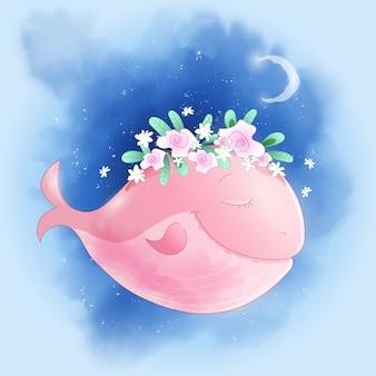 Linda ballena de dibujos animados en el cielo con rosas
