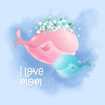 Linda ballena de dibujos animados madre e hijo en el cielo